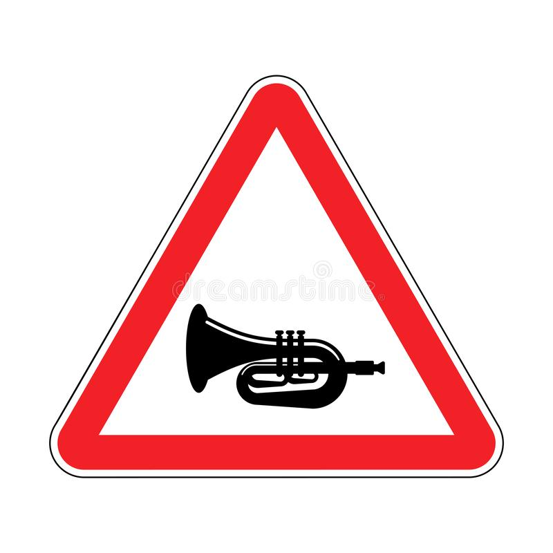 Attention beep Trumpet isolated. Caution hooter. Red triangle road sign.  royalty free illustration
