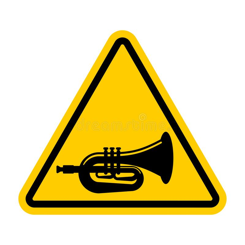 Attention beep Trumpet isolated. Caution hooter. Yellow triangle road sign.  vector illustration