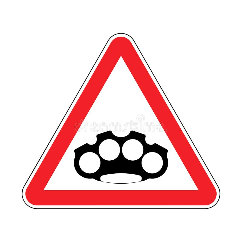 Attention brass knuckle. Caution Weapon Robber. Red Road prohibitory sign. Danger Burglar vector illustration royalty free illustration