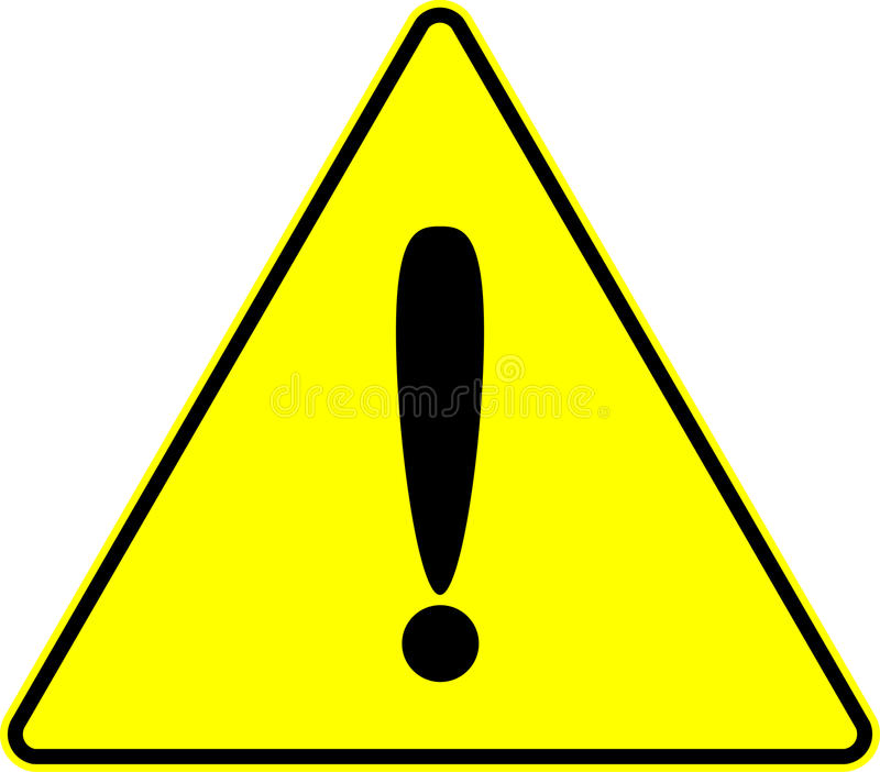 Attention caution exclamation yellow vector sign stock illustration