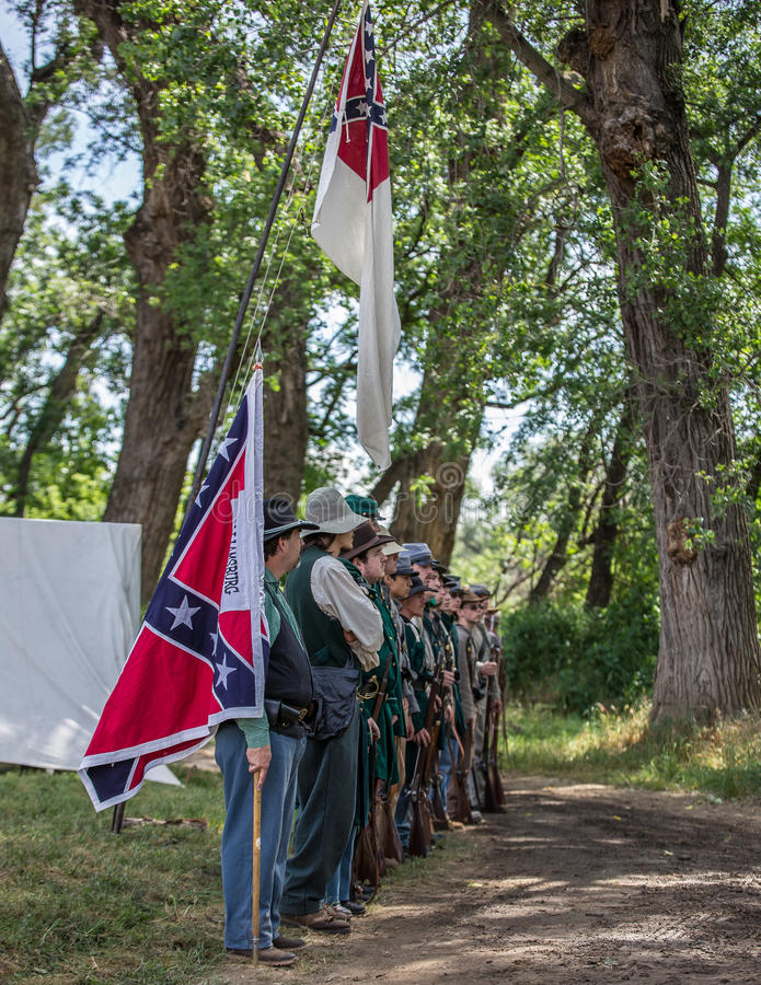 At Attention. Civil War era Confederate soldiers at attention during the Dog Island reenactment in Red Bluff, California royalty free stock photos