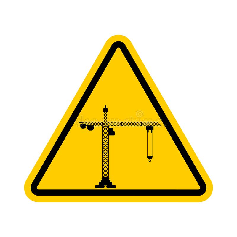 Attention Construction site. Caution development. Yellow road triangle sign Lifting crane.  vector illustration