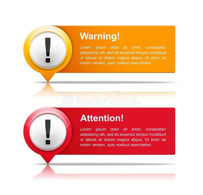 Attention et bannières d'avertissement illustration stock