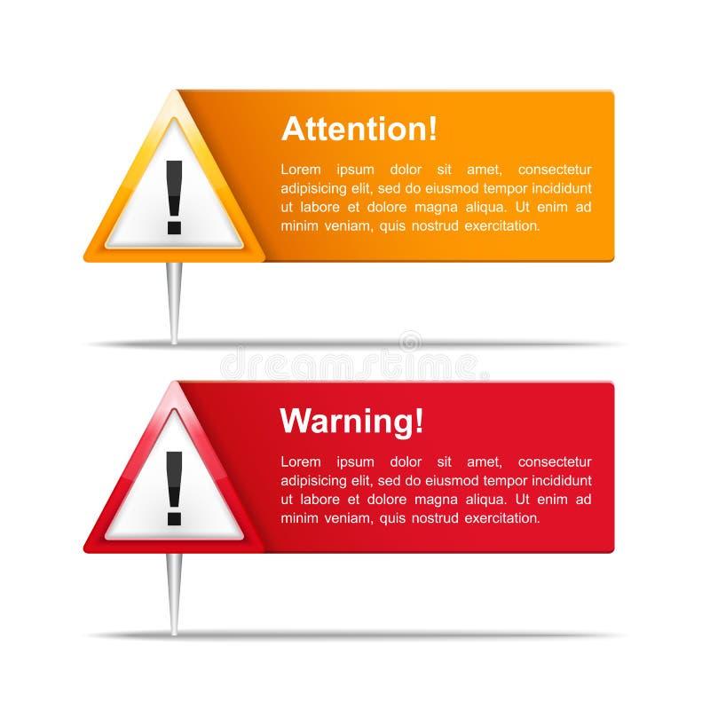 Attention et bannières d'avertissement illustration libre de droits