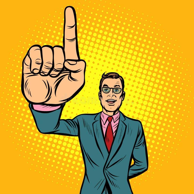 Attention gesture man. index finger up royalty free illustration