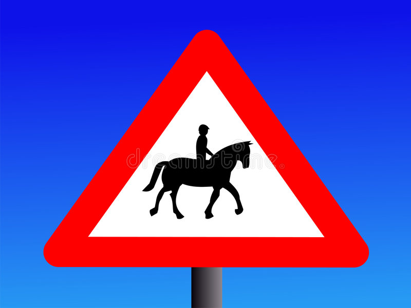 Attention horse riders sign. British attention horse riders road sign vector illustration