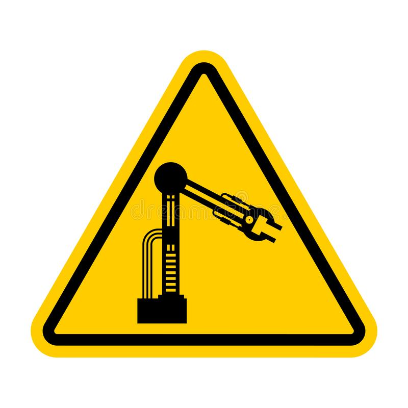 Attention Industrial robot. Caution Mechanical hand. Yellow road vector illustration