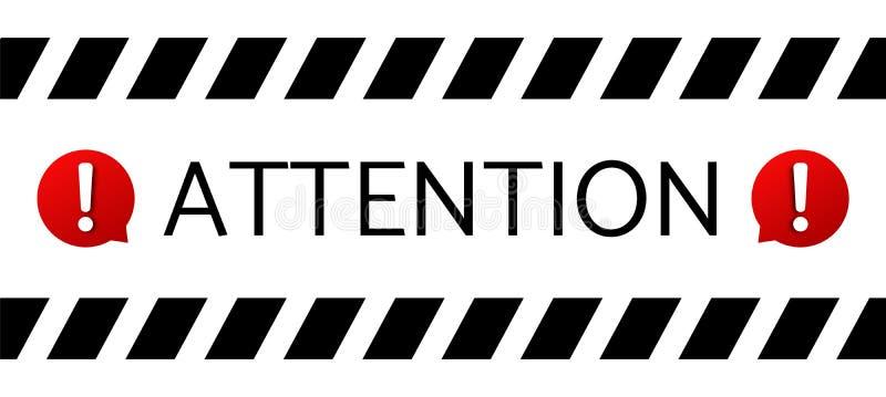 Attention message banner . Important notice warning sign vector illustration