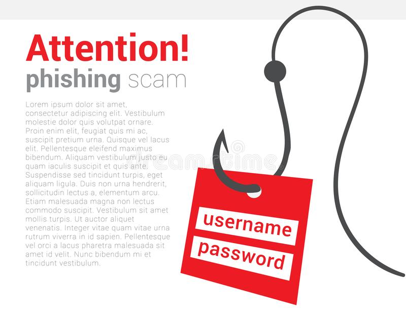 Attention phishing scam icon. Warning poster that your computer is trying hack and steal your personal data. Be vigilant stock illustration