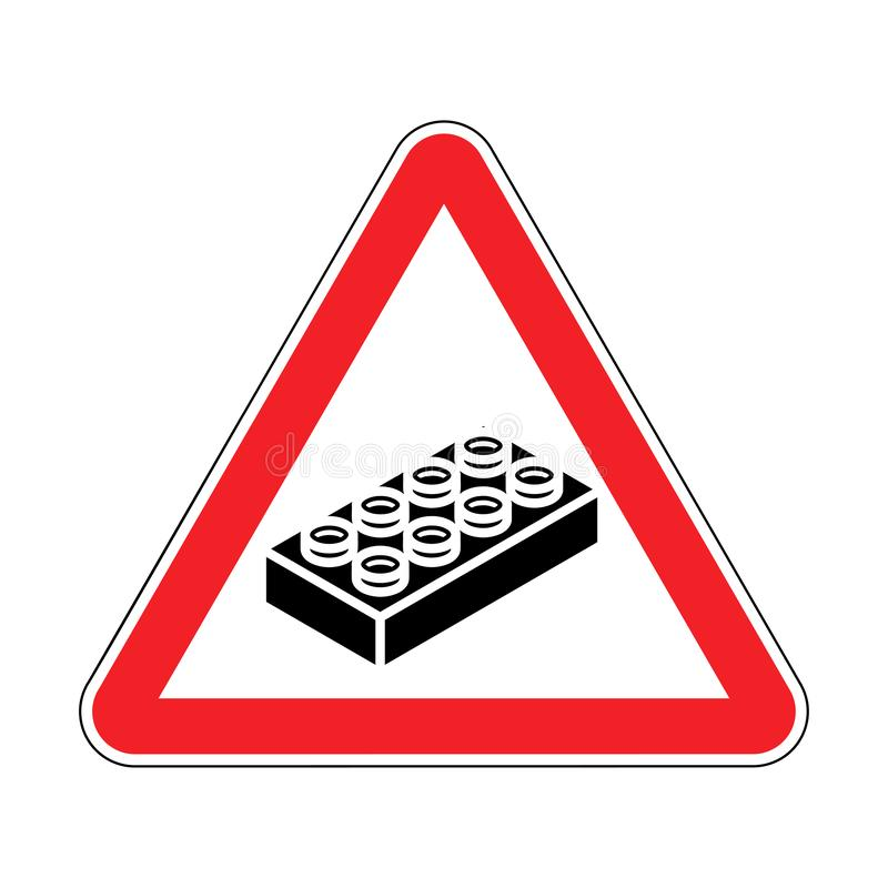 Attention Plastic construction Detail on floor. Warning Red road sign. Caution Forbidding Detail Plastic Designer.  royalty free illustration