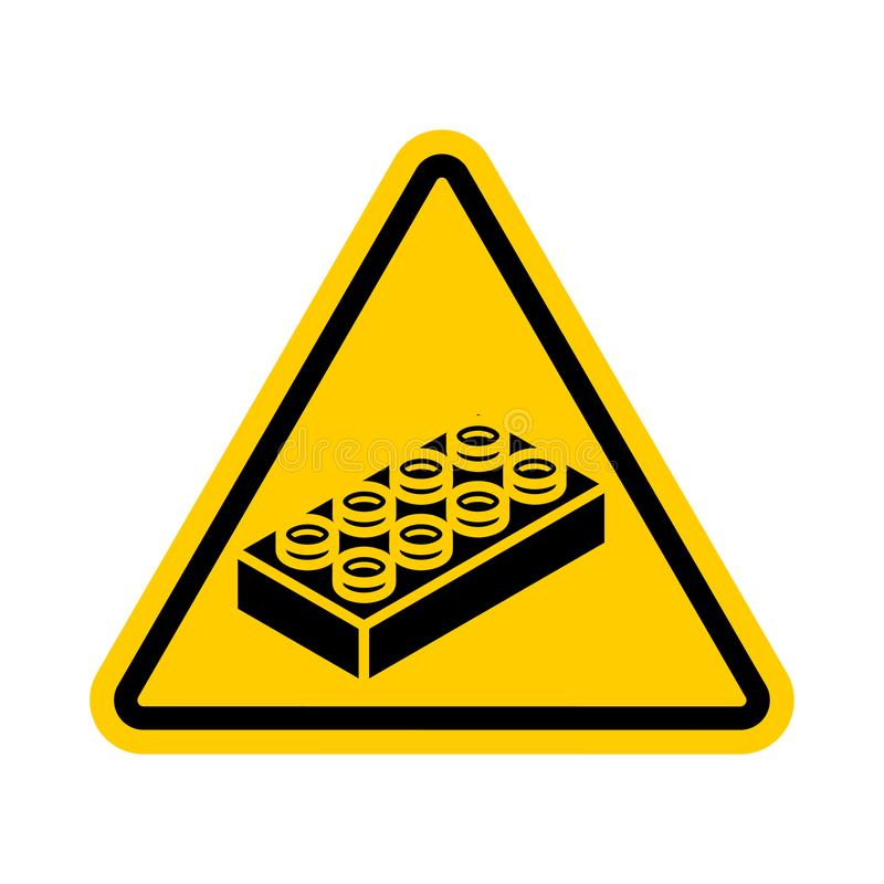 Attention Plastic construction Detail on floor. Warning yellow road sign. Caution Forbidding Detail Plastic Designer.  royalty free illustration