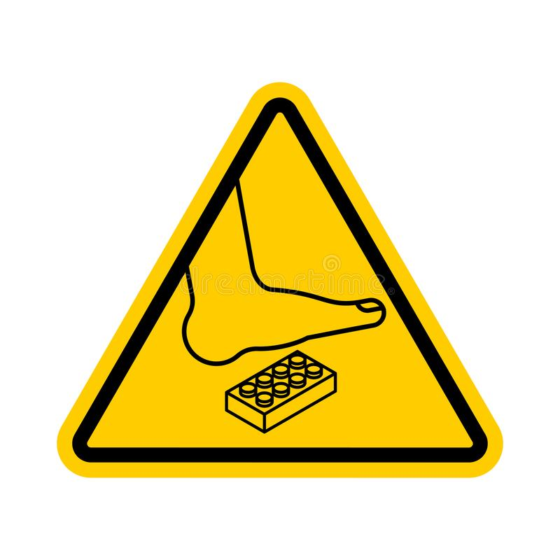 Attention Plastic construction Detail. Warning yellow road sign. Step onto the Constructor. Caution Forbidding Detail Plastic. Designer stock illustration