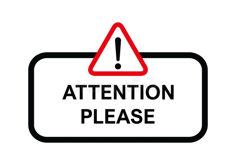 Attention please, important icon. Warning sign alert. Design advertising information.  stock illustration