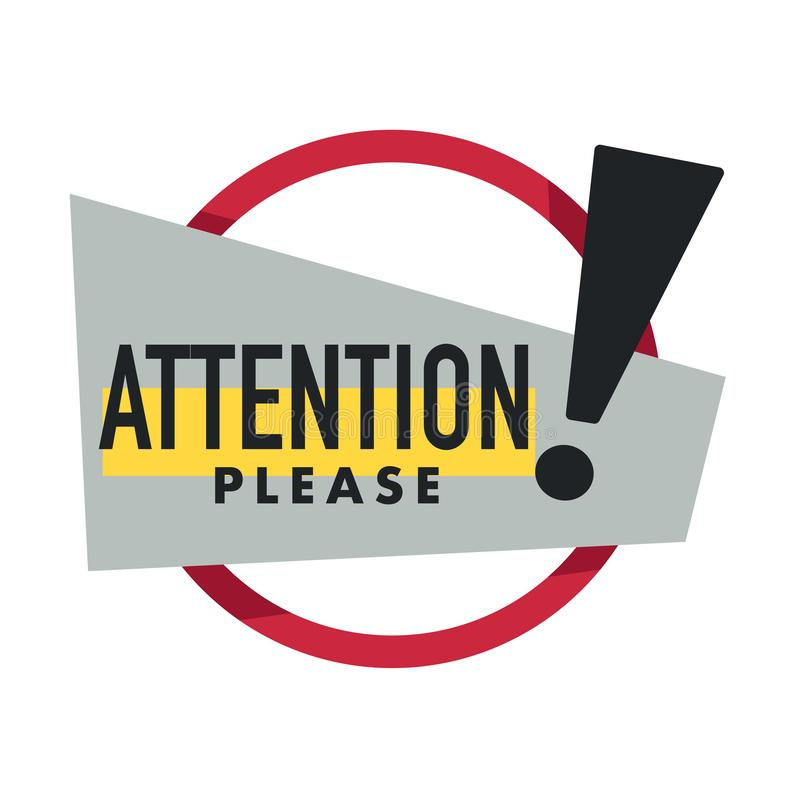 Important message, attention please isolated icon, business marketing. Attention please, important message isolated icon vector, special offer sign. Caution or royalty free illustration
