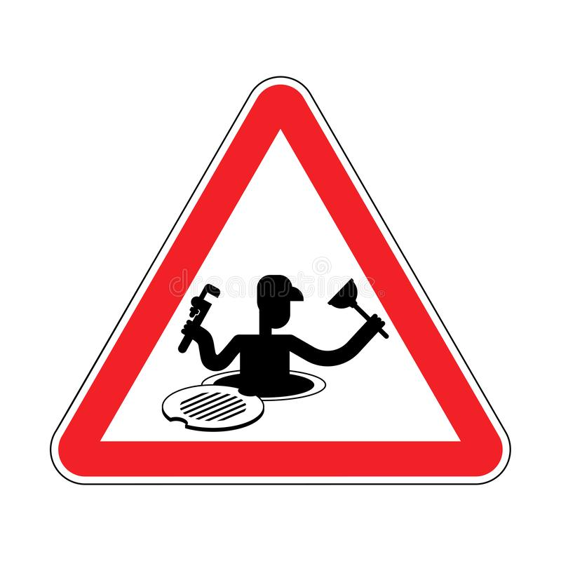 Attention Plumber on Sewer. Warning red road sign. Caution  Working on collector vector illustration