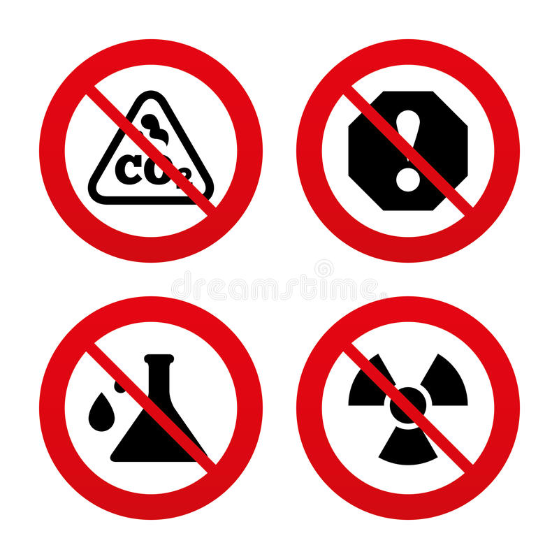 Attention radiation icons. Chemistry flask vector illustration