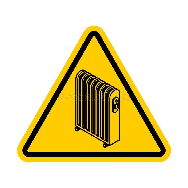Attention Radiator heat . Warning yellow road sign. Caution Electric heating radiator royalty free illustration