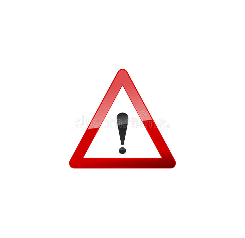 Attention Red Sign, Icon on white. stock illustration