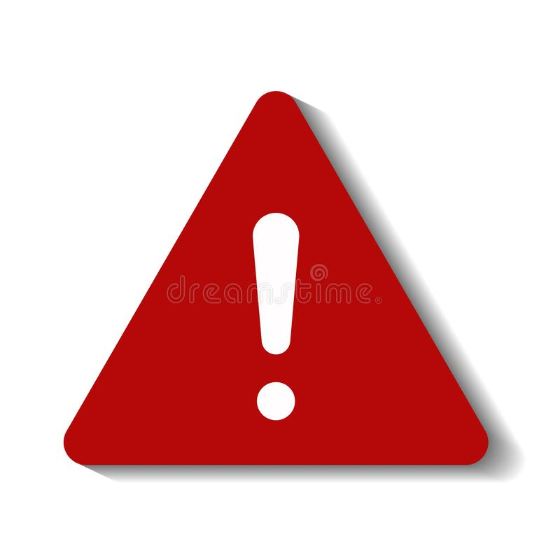 Attention sign warning symbol danger zone red symbol, white background with shadow. EPS 10 vector illustration