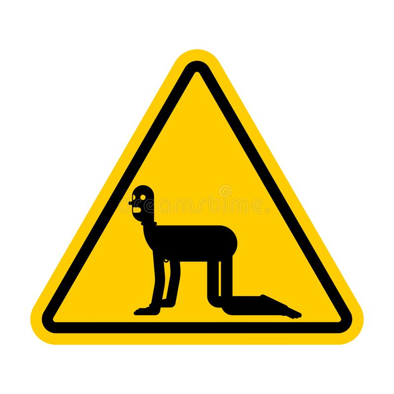 Attention Slave BDSM. Caution Sexual Dominance. Yellow Danger road sign. Vector illustration stock illustration