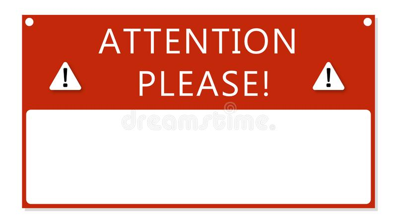 Attention text frame . Important notice message red banner royalty free illustration