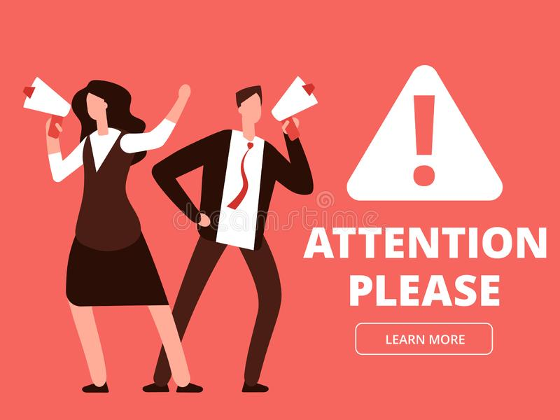 Attention vector banner or web page template with cartoon man and woman with megaphones. Illustration of attention please, man with megaphone and message royalty free illustration