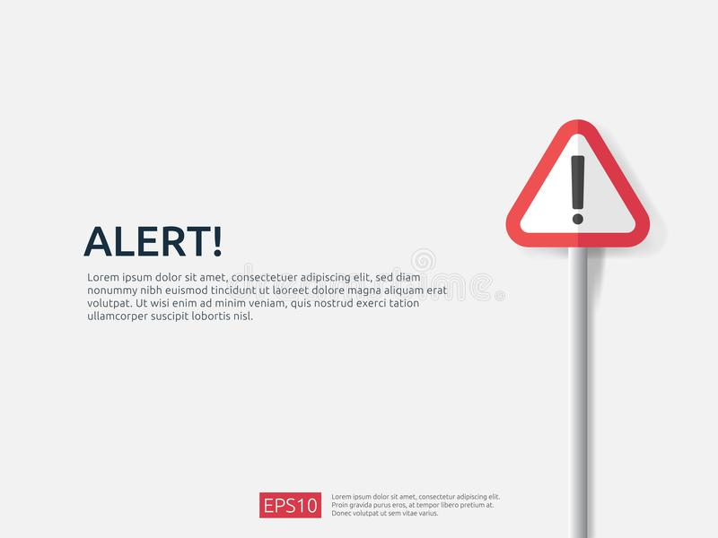 attention warning alert sign banner with exclamation mark symbol. concept for danger on Internet, technology, VPN Security protect vector illustration