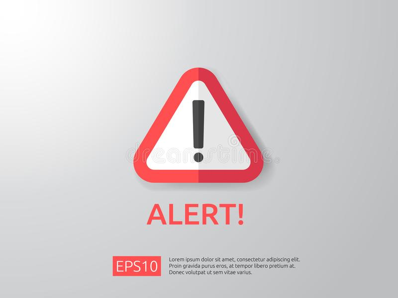 attention warning alert sign with exclamation mark symbol. shield line icon for Internet VPN Security protection Concept vector i royalty free illustration