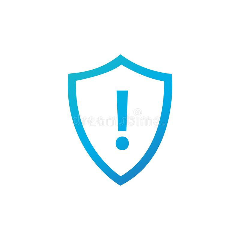 Attention warning attacker alert shield sign with exclamation mark. beware alertness of internet danger symbol. shield line icon. For VPN. Security protection vector illustration