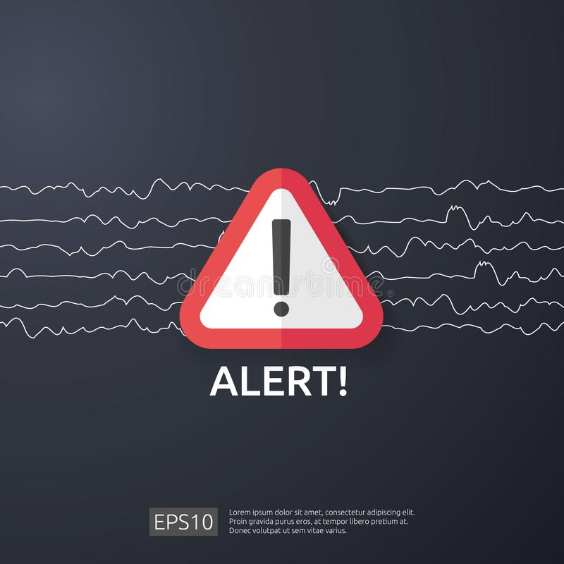 Attention warning attacker alert sign with exclamation mark. beware alertness of internet danger symbol. shield line icon for VPN. Technology cyber security vector illustration