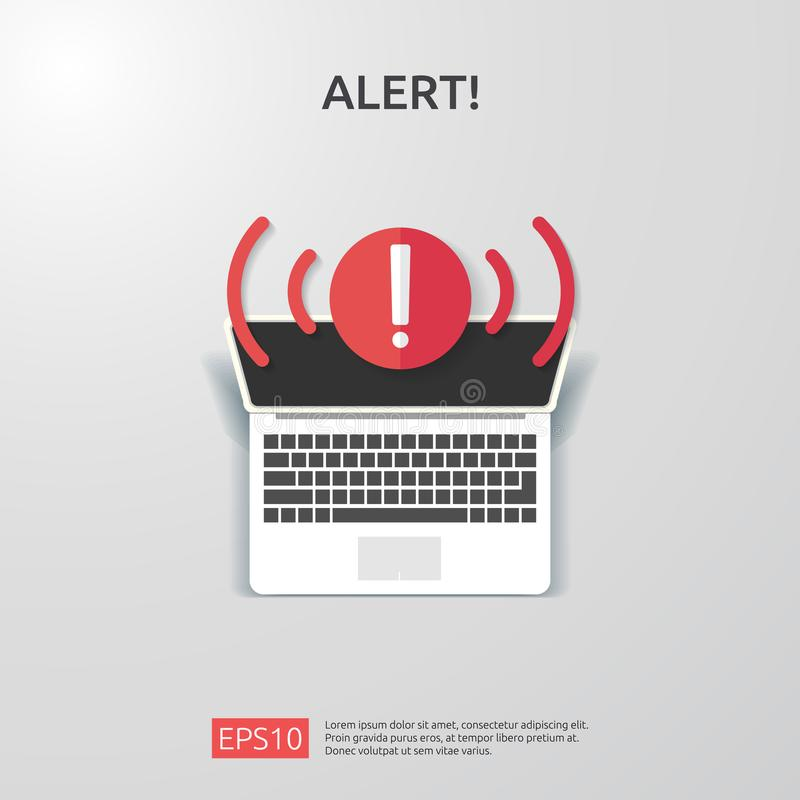 Attention warning attacker alert sign with exclamation mark. beware alertness of internet danger symbol. shield line icon for VPN. Technology cyber security stock illustration