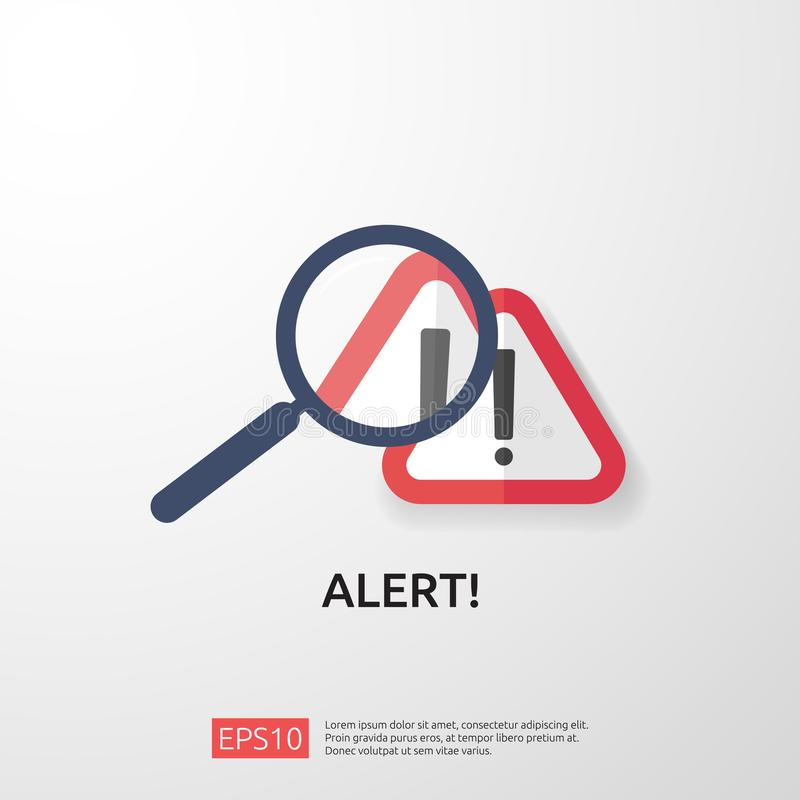 Attention warning attacker alert sign with exclamation mark. beware alertness of internet danger symbol. shield line icon for VPN. Technology cyber security royalty free illustration