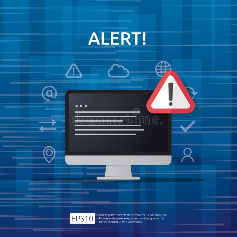 Attention warning attacker alert sign with exclamation mark on computer monitor screen. beware alertness of internet danger symbol. Icon. Security VPN stock illustration