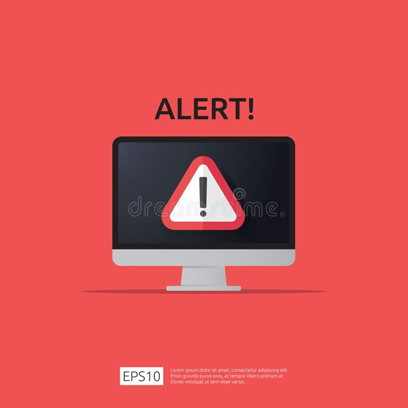 Attention warning attacker alert sign with exclamation mark on computer monitor screen. beware alertness of internet danger symbol. Icon. Security VPN vector illustration