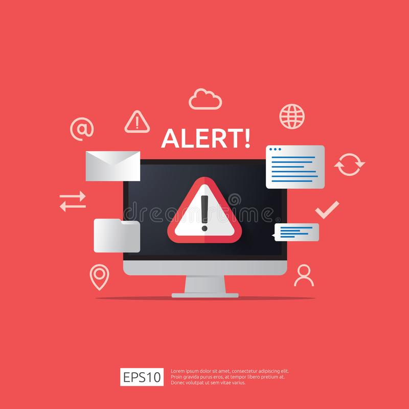 Attention warning attacker alert sign with exclamation mark on computer monitor screen. beware alertness of internet danger symbol. Icon. Security VPN royalty free illustration