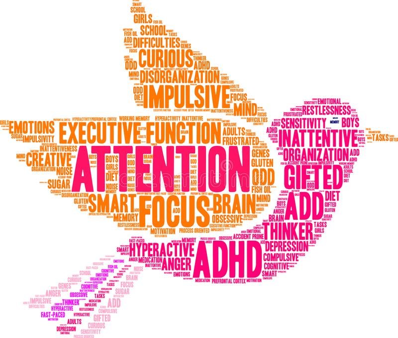 Attention Word Cloud. Attention ADHD word cloud on a white background vector illustration