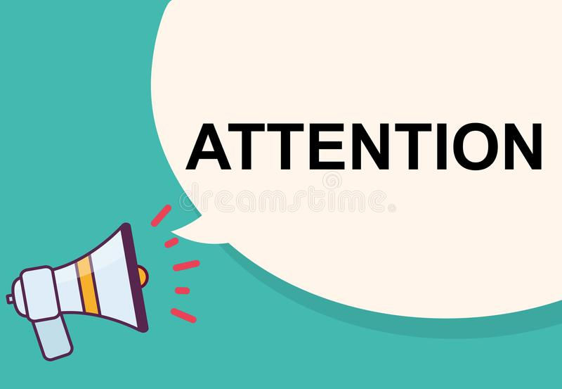 Attention word with megaphone illustration graphic design.  vector illustration