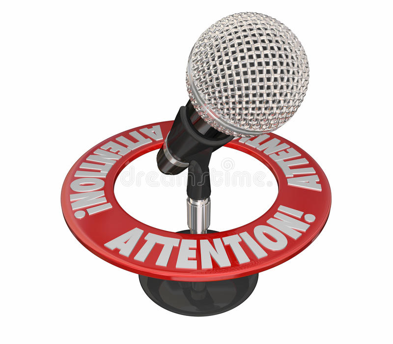 Attention Word Microphone Urgent Critical Important Message. 3D vector illustration