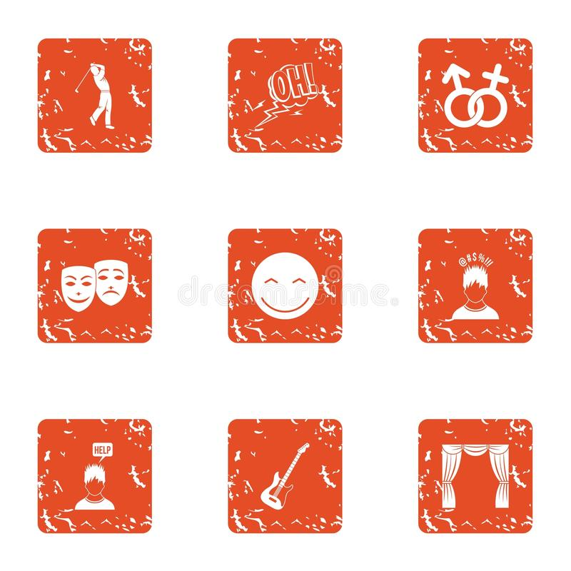 Attentive attitude icons set, grunge style. Attentive attitude icons set. Grunge set of 9 attentive attitude vector icons for web isolated on white background royalty free illustration