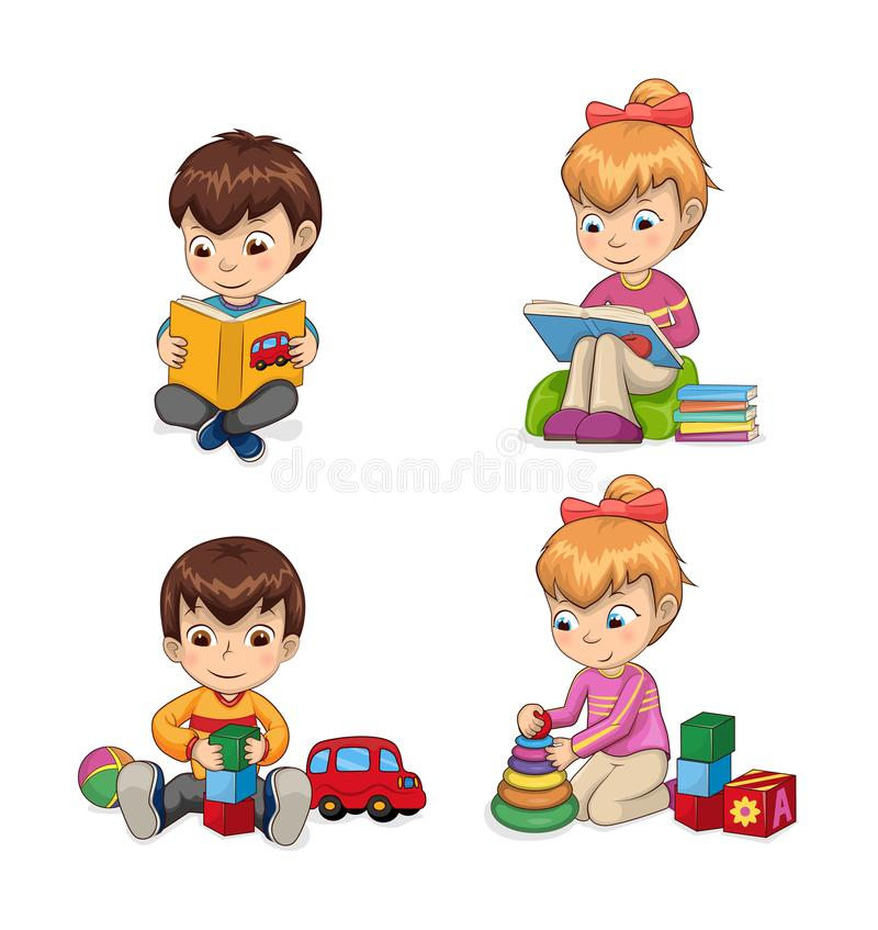 Attentive Children Reading Vector Illustration. Attentive children reading books and getting to know something new, playing games, cubes cones, collection car vector illustration