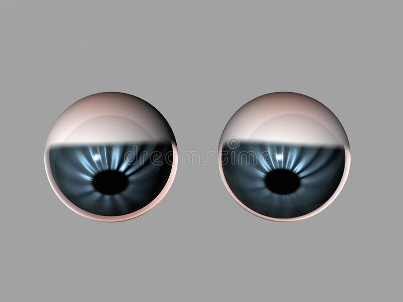 Attentive eyes. 3d generated round eyes attentively looking down stock illustration