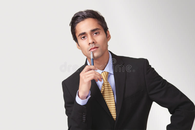 Attentive participant. Attentive listening pose by a meeting participant royalty free stock photo