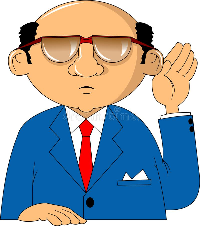 Attentive. Serious businessman attentively listening to the interlocutor, vector and illustration royalty free illustration