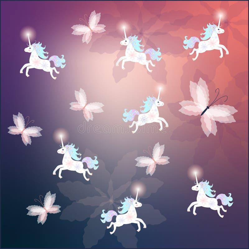 Attenui il modello con gli unicorni divertenti svegli e le belle farfalle illustrazione vettoriale