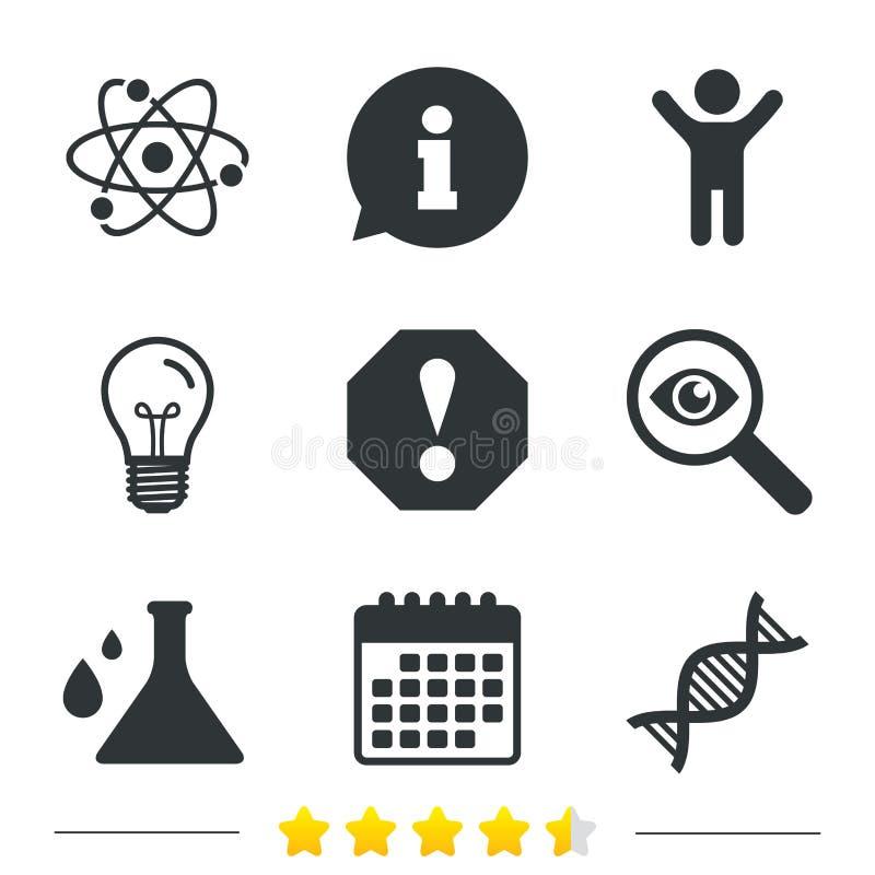 Attenzione ed icone del DNA Boccetta di chimica illustrazione vettoriale