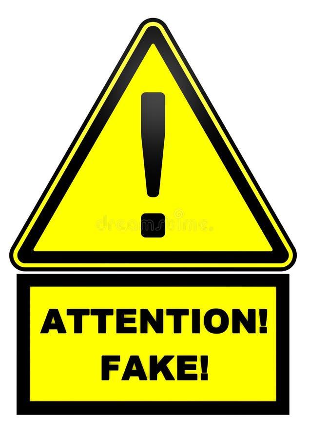 Attenzione! Falsificazione! Segnale di pericolo royalty illustrazione gratis