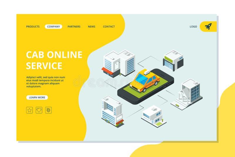 Atterraggio del taxi Pagina del sito Web con l'automobile gialla del taxi di ordine dello smartphone in modello urbano isometrico royalty illustrazione gratis