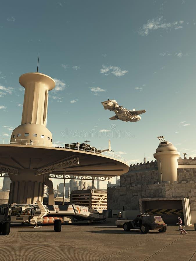 Atterraggio dell'astronave allo spazioporto futuro della città royalty illustrazione gratis