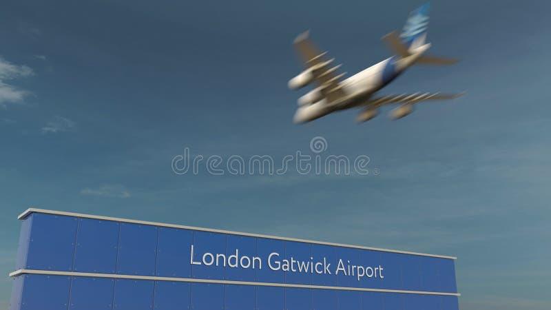 Atterraggio di aeroplano commerciale alla rappresentazione dell'aeroporto di Londra Gatwick 3D immagine stock libera da diritti