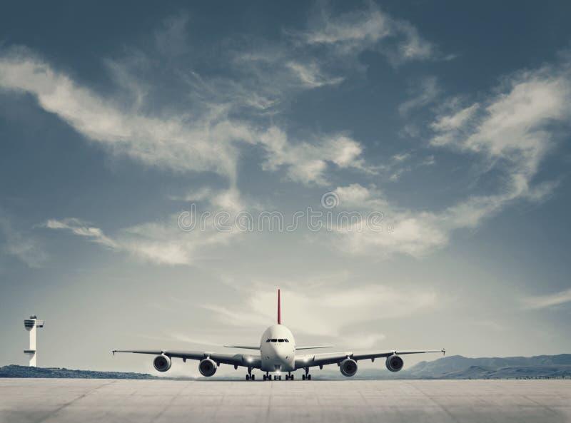 Atterraggio di aeroplano del passeggero immagine stock
